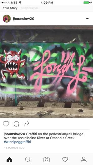 Graffiti on a train bridge.